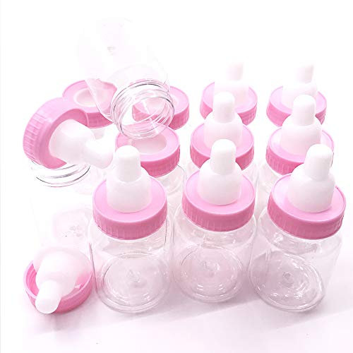 Simplewoo Pink Baby Shower Bottles Birthday Parties Favors, Pack of 24