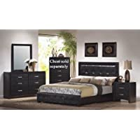 4pc King Size Bedroom Set in Black Finish