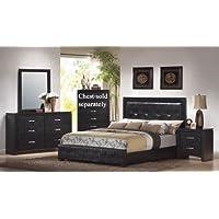 4pc King Size Bedroom Set in Black Finish