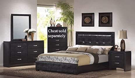 Amazon.com: 4pc King Size Bedroom Set in Black Finish: Kitchen ...