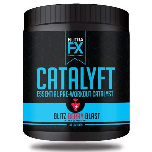 NUTRAFX Sports Nutrition-CATALYFT Preworkout Powder Energize and Focus for Optimum Ripped Pumps That Keep Your fire lit All Day. 30 Servings for Men and Women. Blitz Berry Blast