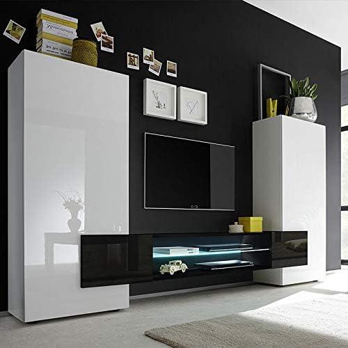 Mueble TV Pared Blanco Negro Lacado Luxor, Blanco, Sans éclairage ...