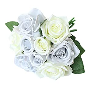 YuShang Artificial Flowers FakeFlowers Silk Artificial Roses 9 Heads Plastic Ranunculus Asiaticus Wedding Bouquet Flower (White) 60