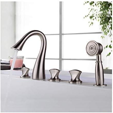現代的な浴槽の蛇口セットホットコールドウォーターシャワーミキサータップデッキマウントバスルーム真鍮3ハンドル5穴ハンドヘルドシャワー付き浴槽の蛇口(ブラッシュドニッケル)