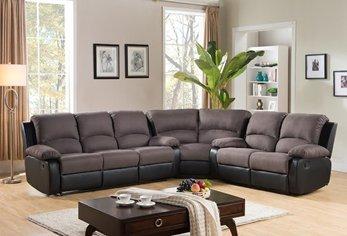 Furniture2go UFE 7838 Eliza Reclining Corner Sectional 3pc Sofa   Grey U0026  Black   Fabric