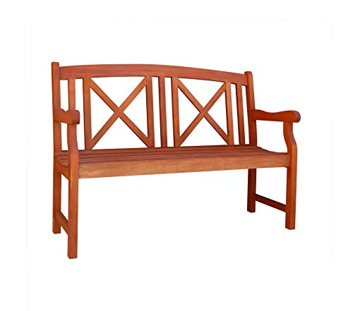 Vifаh Patio Outdoor Garden Premium 2-Seater Outdoor Wood Bench, 47-Inch by 25-Inch by 35-Inch