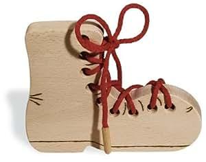 Pinolino 342007 - Zapato de madera para aprender a atar los cordones