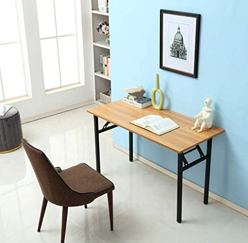 Need Home Office Desk 47 inches Folding Computer Table Workstation No Install, Teak, Teak and Black