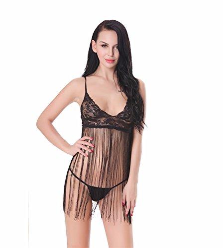 Yall Pijama Mujer Encajes De Hilo Cruz Transparente Black