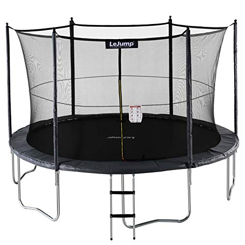 Lejump Trampolines 12ft with Safety Pad & Enclosure & Net & Ladder & Free Socks & Optional Basketball Hoop for Kids TUV Certified (Gray, 12FT) by Lejump (Image #7)