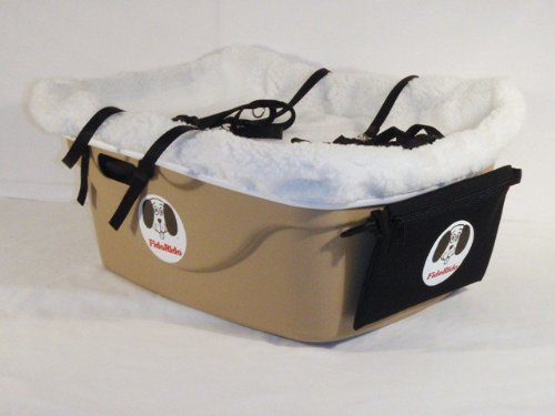 2 Seater Dog Car Seat Finish: Tan, Lining Color: Sherpa White, Harness Sizes: Small and Small