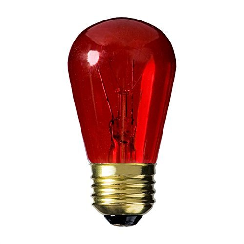 25 Qty. Halco 11W S14 Red TRANS 130V Halco S14RED11T 11w 130v Incandescent Transparent Red Lamp Bulb by Halco