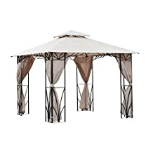 Outsunny 10'x10' Gazebo Canopy Garden Shade Outdoor Waterproof Patio Awning Proof with Metal Frame and Curtains