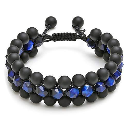 Jovivi Beads Chakra Bracelet Triple Layered Blue Tigers Eye Gemstone Black Onyx Natural Yoga Beads Healing Energy Crystals Stretch Bracelets from Jovivi