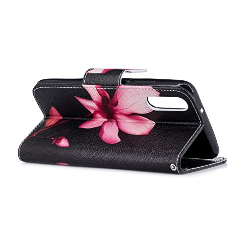 Artfeel Huawei P20 Buch Stil Premium PU Leder Brieftasche Handyhüllen,Mode Bunt [Niedlicher Panda Bambus] Muster Flip Hülle Eingebauter Ständer Kredit Kartenfach mit Geldbeutel Magnetverschluss Stoßfe Lotus