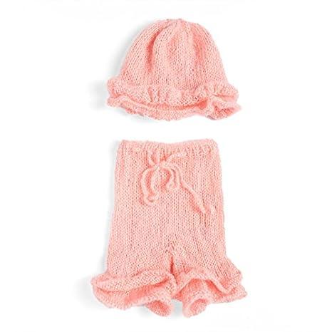 PEPEL Ganchillo hecho a mano de punto bebé gorro traje, pink ...