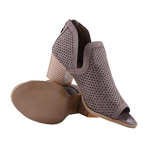 Back Zipper Boot - Fashare Womens Peep Toe Booties Perforated Stacked Block Heel Ankle Boots Back Zipper