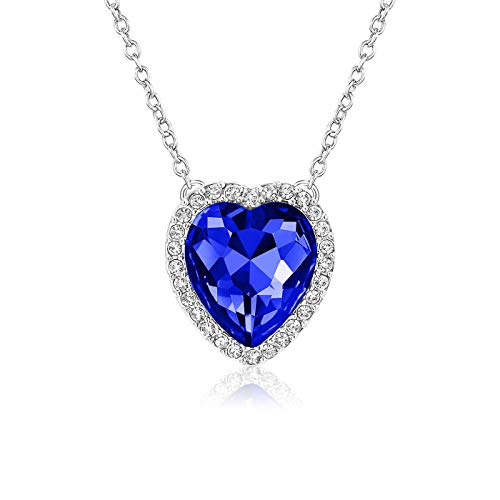 - Beyond Love Sapphire September Birthstone Necklace Blue Heart Jewelry Gifts for Women and Girls