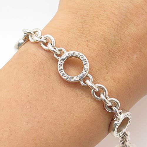 Carolee 925 Sterling Silver Unique Design Rolo Link Bracelet 7