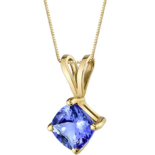 14 Karat Yellow Gold Cushion Cut 1.00 Carats Tanzanite Pendant (Pendant Tanzanite)