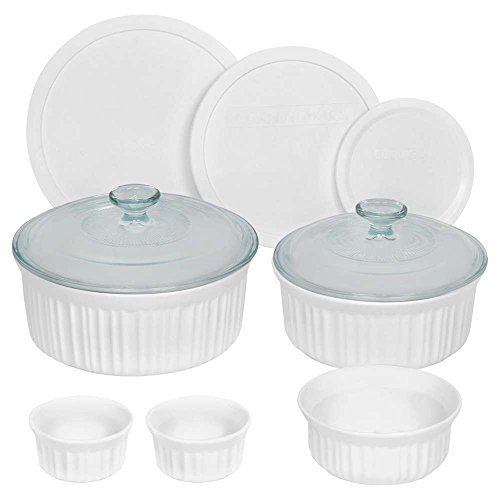 Round With Lid Casserole - CorningWare French White Round Bakeware Set (10-Piece, White)