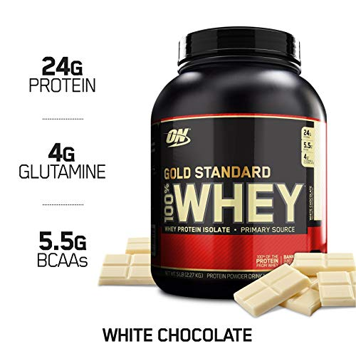 - OPTIMUM NUTRITION GOLD STANDARD 100% Whey Protein Powder, White Chocolate, 5 Pound