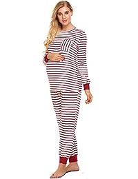 Ekouaer Women's Stripe Pajama Set Maternity Long Sleeves Pregnant suit