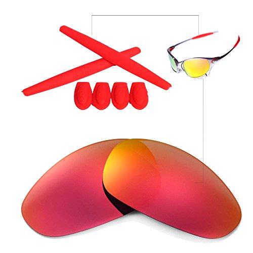 Juliet Replacement Lenses (Walleva Polarized Lenses And Rubber Kit(Earsocks+Temple Shocks) For Oakley Juliet (Fire Red Mirror Coated Polarized Lenses + Red Rubber))