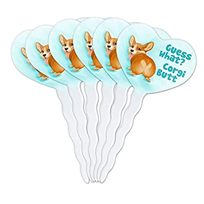 GRAPHICS & MORE Guess What Corgi Butt Funny Joke Heart Love Cupcake Picks Toppers Decoration Set of 6: Kitchen & Dining
