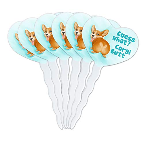 GRAPHICS & MORE Guess What Corgi Butt Funny Joke Heart Love Cupcake Picks Toppers Decoration Set of 6