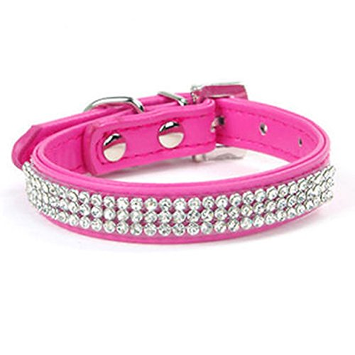 - 1 Pack 3-Rows Crystal Bling Rhinestone Pink PU Leather Buckle Small Pet Dog Dogs Cat Collar Soft Elastic Bow Bell Tag Finest Popular Extra Large Wide Safety Breakaway Training Camo Kitten Collars