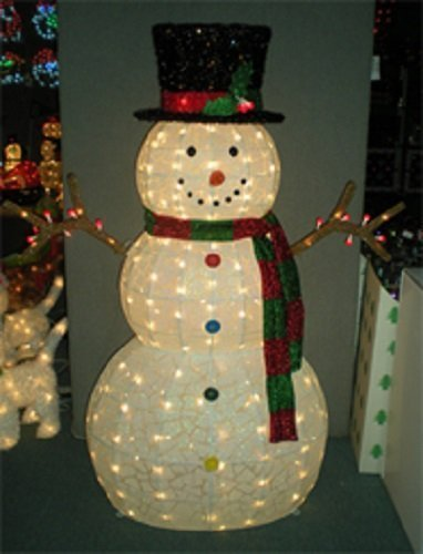Outdoor Lighted Wire Snowman - 2