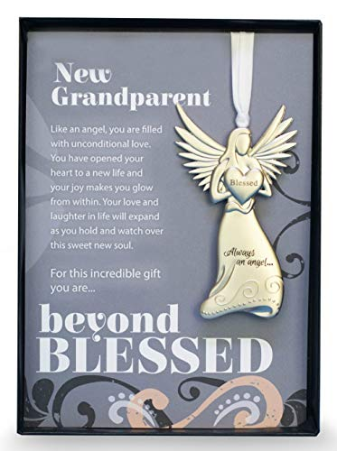 Beautiful Silver Finish Metal Angel with Beyond Blessed Poem - Gift for New Grandparents On Birth of Grandchild