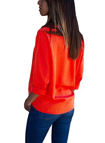 Femme Happy Red Chemisier Sailed Orange AwwqvTP