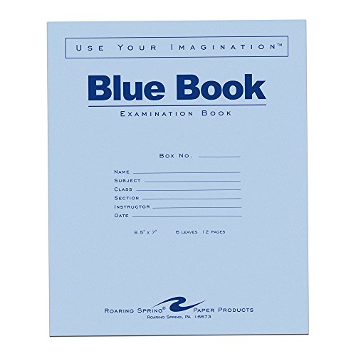 Roaring Spring Exam Book 8.5 x 7 Inches 6 Sheets/12 Pages Wide Ruled with Margin Blue Cover Sold as Pack of 50 Books -