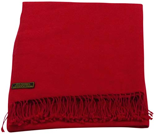 Red High Grade 100% Cashmere Shawl Pashmina Scarf Wrap Stole Hand Made from Nepal CJ Apparel NEW