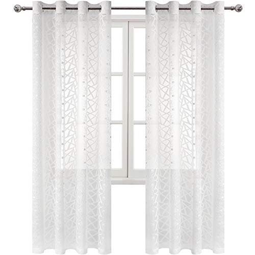 DWCN White Sheer Curtains Lace Voile Drapes Semi Transparent Irregular Pattern Window Curtain for Bedroom Modern Style Panels, 52 x 84 inches Long, Set of ()