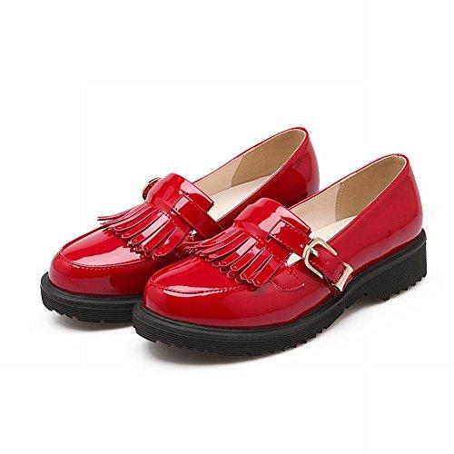 Visa Shine Womens Mode Spänne Tofsar Loafers Lägenheter Skor Röd