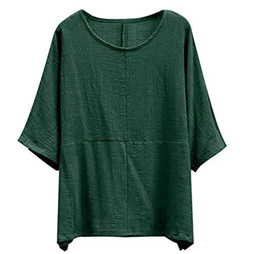 Blouse en Vert Chemisier en Col Chemises Innerternet Lin Rond Femmes Longues Tops pour Shirts T Vrac Manches Coton dqwBtRA