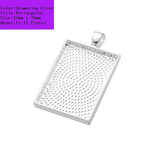 X 35mm Shimmering Silver Rectangle Pendant Trays Pendant Blanks Cameo Bezel Settings for Photo Charm,Cabochon and Jewelry Making ()