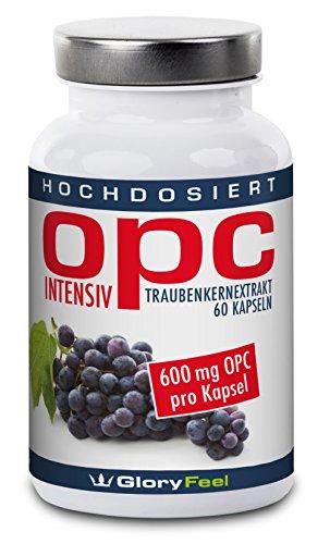 OPC Traubenkernextrakt Intensiv 600mg Kapseln - 60 hochdosierte, vegane Kapseln - 600 mg Reines OPC + 12 mg Vitamin C pro Kapsel- 100% natürliches Antioxidans, 2 Monatsvorrat - Premiumqualität Deutscher Herstellung
