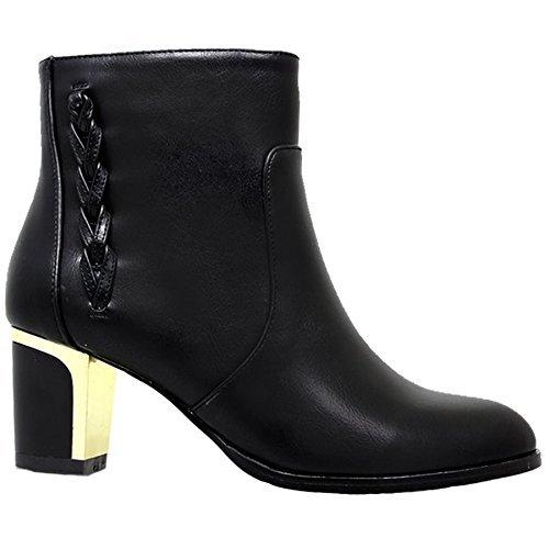 Boots Pointed Heel Faux Black UK 6 Metallic Leather Ankle GLC041 Ladies Chunky Toe ZqYRxxfz