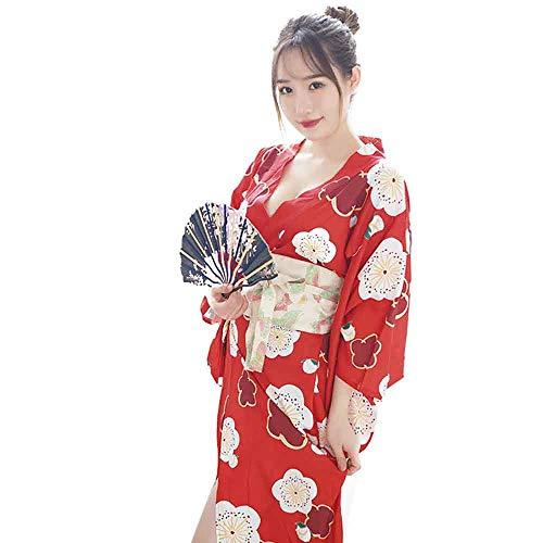 Wraith of East Women's Sexy Yukata Kimono Dress Satin Sakura Pattern Traditional Bathrobe Cosplay Costume Long Robe 51