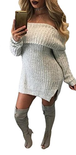 Womens Sexy Off Shoulder Long Sleeves Bodycon Sweater Party Clubwear Mini Dress Grey XL