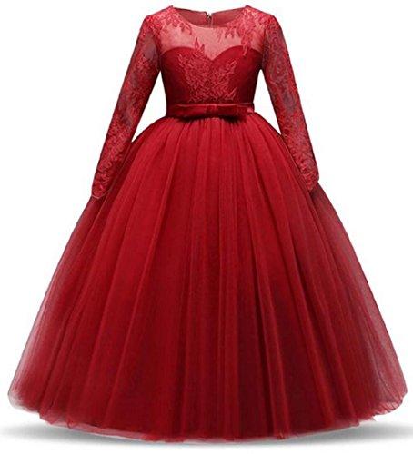 da damigelle ragazze abito in formale chiffon da a sposa Agogo Borgogna maniche sposa per 164 116 le pizzo di da principessa lunghe sposa Abiti PwXW4q5