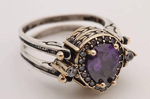 Turkish Jewelry Handmade Reversible 2 rings in 1 ring Drop Shape Pear Cut Shiny Amethyst Topaz 925 Sterling Silver Ring Size All