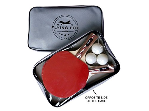 Table Tennis & Ping Pong Paddles Set with Carry Case - Professional Quality Racket with Flared Wood Handle for Novice to Semi-Pro by Flying Fox Paddles by Flying Fox (Image #4)