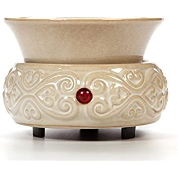 Hosley's Cream Ceramic Electric Fragrance Candle Wax Warmer. Ideal for Spa and Aromatherapy. Use with HOSLEY Brand Wax Melts / Cubes, Essential Oils and Fragrance Oils O2