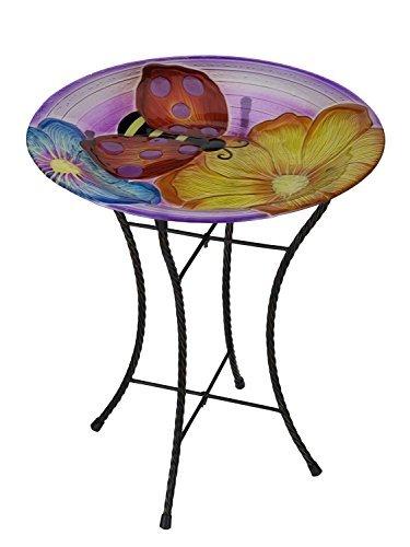 Regal Art & Gift Ladybug Glow Birdbath, 18''