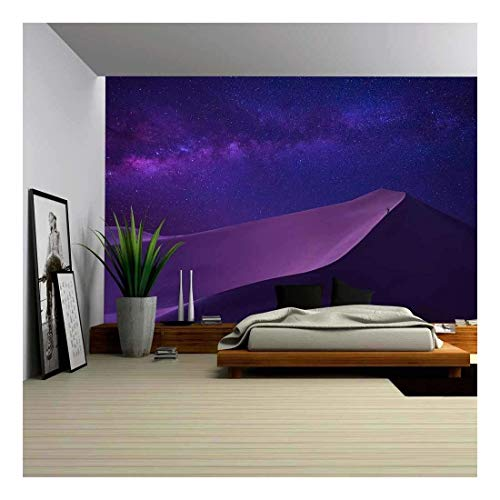 wall26 - Man Looking Milky Way in Desert - Removable Wall Mural | Self-Adhesive Large Wallpaper - 66x96 inches